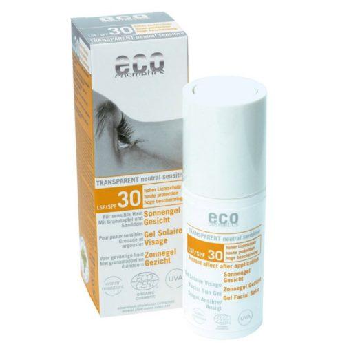 Eco Cosmetics Opalovací transparentní gel na obličej SPF 30 (30 ml)