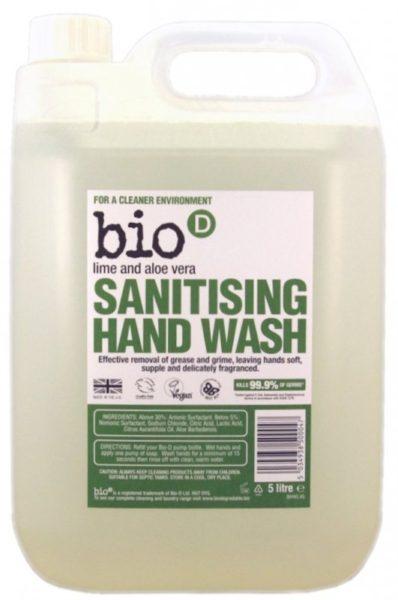 Bio-D Tekuté mýdlo - aloe vera a limetka (5 l) - s dezinfekčním účinkem