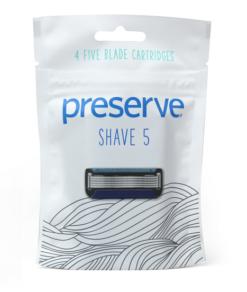 Preserve Náhradní břity Shave 5 (4 ks) - s garancí netestování na zvířatech