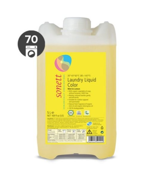 Sonett Tekutý prací gel na barevné prádlo BIO (5 l) - s mátou a citrónem