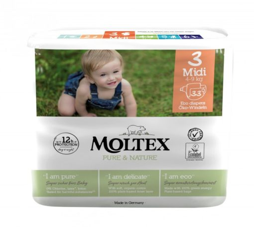 Moltex Ekoplenky Pure & Nature - Midi (4-9 kg) (33 ks) - ze 40-45 % rozložitelné