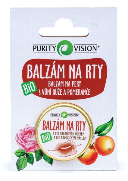 Purity Vision Balzám na rty BIO (12 ml) - s vůní růže a pomeranče