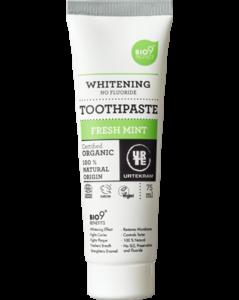 Urtekram Bělící zubní pasta s mátou BIO (75 ml) - se svěží mátovou chutí