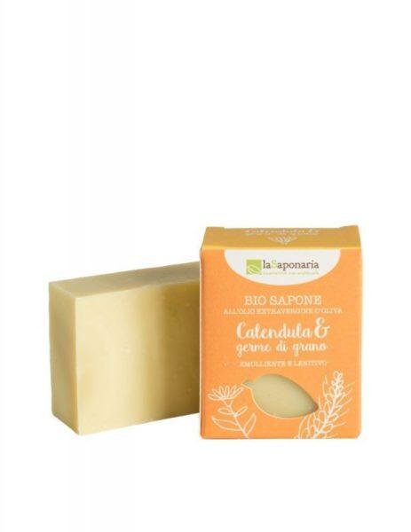 laSaponaria Tuhé olivové mýdlo BIO - Měsíček a pšeničné klíčky (100 g)