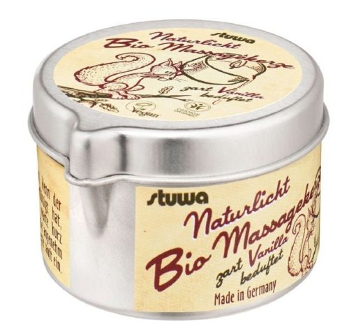 Stuwa Masážní svíčka v plechové dóze s nálevkou BIO (50 ml) - přírodní vanilka