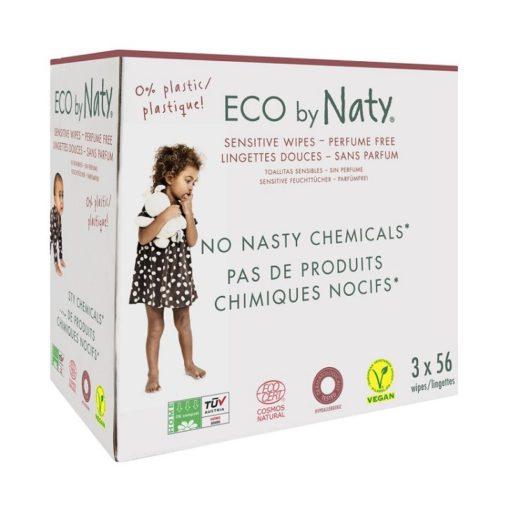 Naty Dětské vlhčené hygienické ubrousky Economy pack (3 x 56 ks) - vhodné i pro velmi citlivou pokožku
