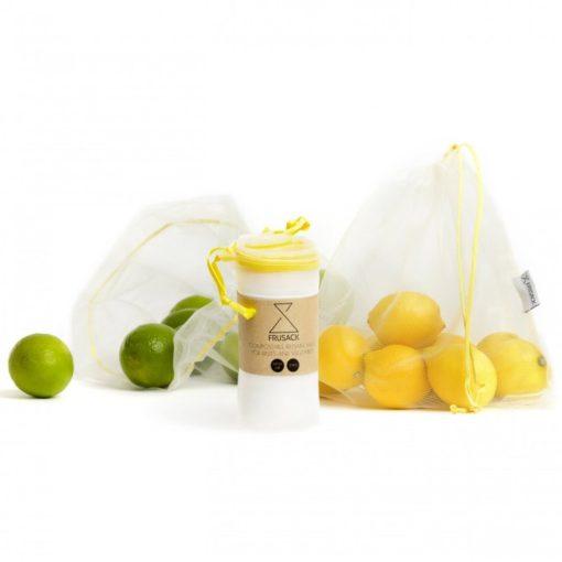 Frusack Knit Duo Pack - žlutá (2 ks) - z pevné kompostovatelné pleteniny