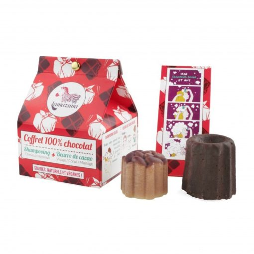 Lamazuna 100% čokoládová zero waste dárková sada - limitovaná edice - tuhý čokoládový šampon a kakaové máslo
