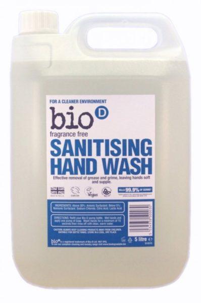 Bio-D Tekuté mýdlo na ruce - bez vůně (5 l) - s dezinfekčním účinkem