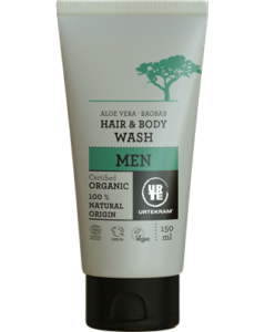 Urtekram Sprchový gel a šampon pro muže s aloe a baobabem BIO (150 ml)